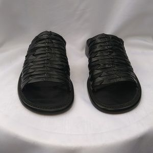 Black leather slip on sandals